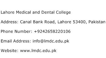 Lahore Medical and Dental College Address Contact Number