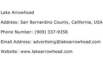 Lake Arrowhead Address Contact Number