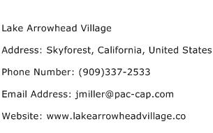 Lake Arrowhead Village Address Contact Number