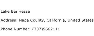 Lake Berryessa Address Contact Number