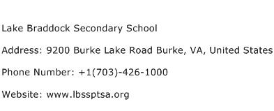Lake Braddock Secondary School Address Contact Number
