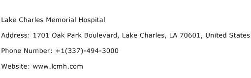 Lake Charles Memorial Hospital Address Contact Number