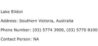 Lake Eildon Address Contact Number