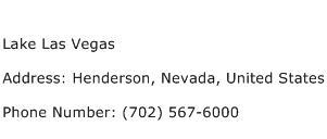 Lake Las Vegas Address Contact Number