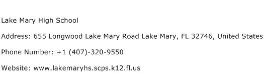 Lake Mary High School Address Contact Number