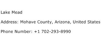 Lake Mead Address Contact Number