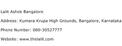 Lalit Ashok Bangalore Address Contact Number