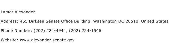 Lamar Alexander Address Contact Number