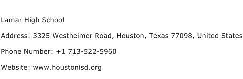 Lamar High School Address Contact Number