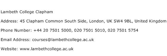 Lambeth College Clapham Address Contact Number