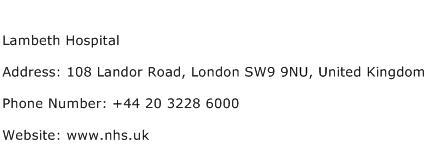 Lambeth Hospital Address Contact Number