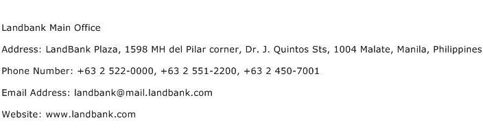 Landbank Main Office Address Contact Number