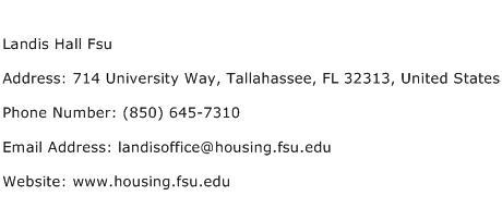 Landis Hall Fsu Address, Contact Number of Landis Hall Fsu