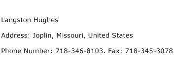 Langston Hughes Address Contact Number