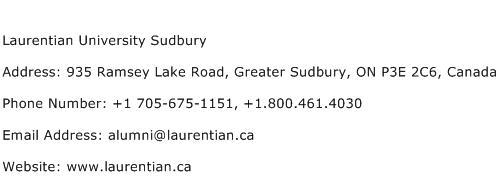 Laurentian University Sudbury Address Contact Number