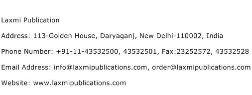 Laxmi Publication Address Contact Number