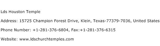 Lds Houston Temple Address Contact Number