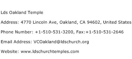 Lds Oakland Temple Address Contact Number