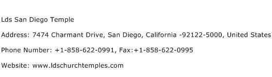 Lds San Diego Temple Address Contact Number