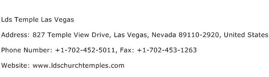 Lds Temple Las Vegas Address Contact Number