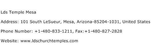 Lds Temple Mesa Address Contact Number