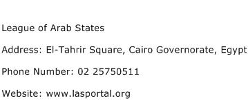 League of Arab States Address Contact Number