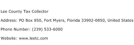 Lee County Tax Collector Address Contact Number