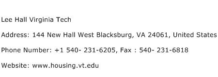 Lee Hall Virginia Tech Address Contact Number