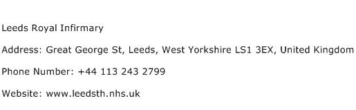 Leeds Royal Infirmary Address Contact Number