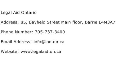 Legal Aid Ontario Address Contact Number