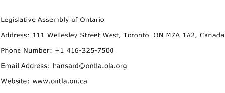 Legislative Assembly of Ontario Address Contact Number