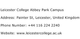 Leicester College Abbey Park Campus Address Contact Number