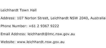 Leichhardt Town Hall Address Contact Number