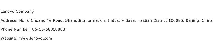 Lenovo Company Address Contact Number