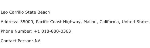 Leo Carrillo State Beach Address Contact Number
