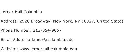 Lerner Hall Columbia Address Contact Number