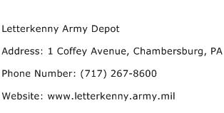 Letterkenny Army Depot Address Contact Number