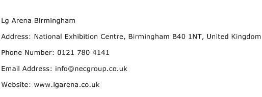 Lg Arena Birmingham Address Contact Number