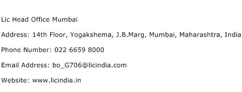Lic Head Office Mumbai Address Contact Number