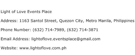 Light of Love Events Place Address Contact Number