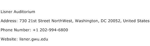 Lisner Auditorium Address Contact Number