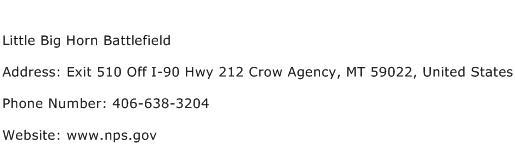 Little Big Horn Battlefield Address Contact Number