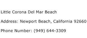 Little Corona Del Mar Beach Address Contact Number
