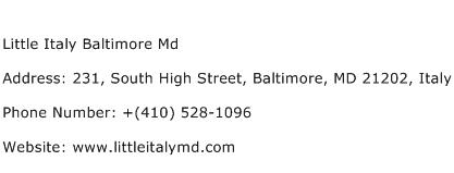 Little Italy Baltimore Md Address Contact Number