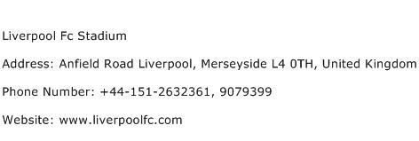 Liverpool Fc Stadium Address Contact Number
