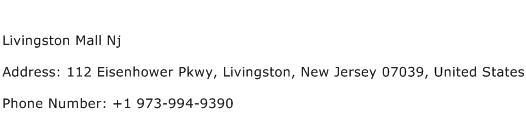 Livingston Mall Nj Address Contact Number