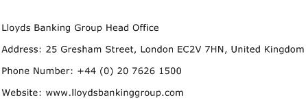 Lloyds Banking Group Head Office Address Contact Number