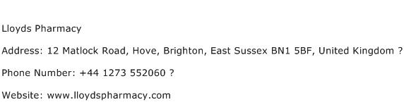 Lloyds Pharmacy Address Contact Number