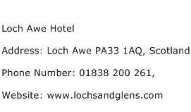 Loch Awe Hotel Address Contact Number