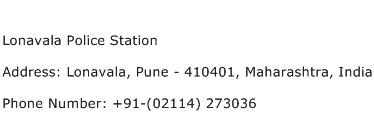 Lonavala Police Station Address Contact Number